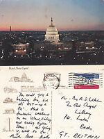 1975 THE CAPITOL AT NIGHT WASHINGTON UNITED STATES COLOUR POSTCARD