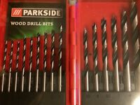 Wood Drill Bits Tool Set + Case. 15 Piece Set.3mm To 10mm.Parkside