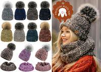 Womens Ladies Beanie Pom Pom Warm Winter Natural Wool Alpaca Fleece Liner