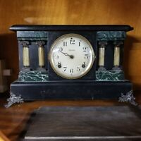 ANTIQUE E. INGRAHAM MODEL 1833 BLACK TEMPLE STYLE MANTEL SHELF CLOCK