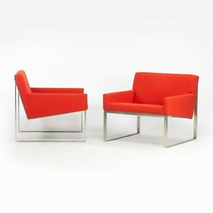 Pair of Fabien Baron Bernhardt Design B.3 Orange/Red Kvadrat Wool Lounge Chairs