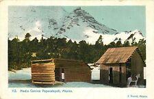 1900-1907 Lithograph Postcard Medio Camino Popocatepetl Mexico, Cabin on the Way