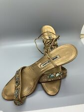 Manolo Blahnik Ankle Wrap Sandals Gold Metallic Open Toe Heel Strappy Sz 41 EUC