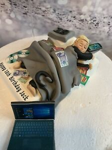 EDIBLE LAZY TEENAGER BED TOPPER CAKE TOPPER CAKE DECORATION FUNNY BOYS BIRTHDAY