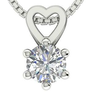 SI1 G 0.70Ct Round Diamond Heart Pendant Necklace Solitaire 14K Gold 6 Prong Set