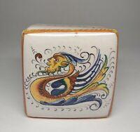 Vtg DERUTA Italian Art Pottery Trinket Box Raffaellesco Dragons Filli Mari Italy