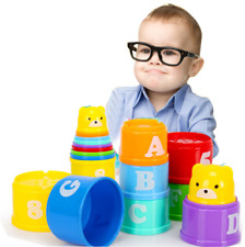 9Pcs Early Education Baby Toys Figures Letters Folding Stack Cups Tower Us