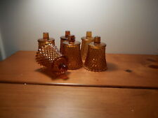 Amber Diamond Votive Cups Lot of 6 Homco Home Interiors