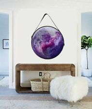 Resin Glass + Framed Hanging Round Abstract Canvas Painting Original Art Purple