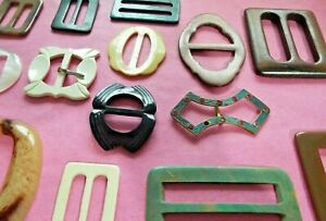 14 Old/vintage buckles (some Bakelite? one metal) mixed style including art deco