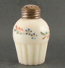 EAPG Opaque Glass Salt Shaker Ribbed Base Hand Painted Flowers