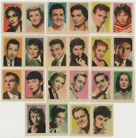 Lot of 11 vintage 1950s 1960s Film Star Pairs on Paper-Stock Trading Cards E1