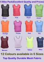 5 FOOTBALL BIBS MESH TRAINING SPORTS BIBS Kids/Youth and Adult Sizes