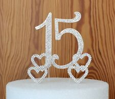 Number 15 Quince Cake Topper Rhinestone Set Quinceanera birthday party supplies