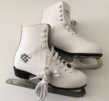 Vguc Ccm Pirouette White Figure Ice Skates w/ Black Dragon Blades Women's Size 4