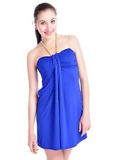 Women S/M Fit Blue Turquoise Draped Bodice Halter Style Pearl n Chain Dress