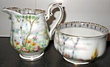 Vintage Royal Albert Silver Birch Creamer & Open Sugar Bowl, English Bone China