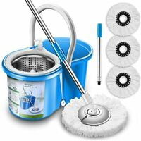 Microfiber 360 Spin Mop and Bucket Floor Cleaning Tools Stainless Steel Deluxe