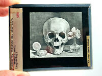 Antique Phillipe Champagne Memento Mori Skull engraving magic lantern slide