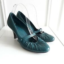 JONES Vtg Style Teal Green Leather Mary Jane Leather Retro Heels Sz 6.5 / 40
