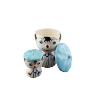 Vintage BLUE Clown Egg Cup Salt Set FREE SHIPPING Anthropomorphic Japan