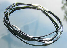 Black Real Leather Cord Bracelet with 925 Sterling Silver Clasp Ends and Beads