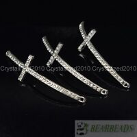 10Pcs Skiny Curved Side Ways Crystal Rhinestones Cross Bracelet Connector Beads