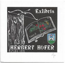ALMA PETZ: Exlibris für Herbert Hofer, Bäume: Taxus
