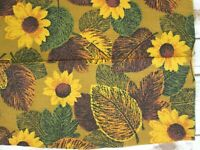 Sunflower Leaf Barkcloth Fabric Remnant Yellow Brown Green Floral MCM Floral Vtg