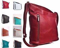 Ladies Vera Pelle Italian Soft Leather Angled Shoulder Cross Body Bag Handbag
