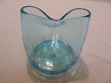 """Crackle Glass Blue Pinched Top Vase 3"""" Tall 2.75"""" Across Top Vintage"""
