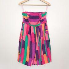 Tibi Sz 8 Dress Lollipop Stripe Silk Linen Blend Strapless Pink Neon Medium $295