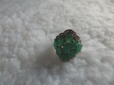Emerald and White Topaz Ring  7.0 cts. Size 6