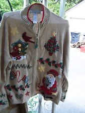 Tiara International 1X Ugly Christmas Sweater Cardigan Santa  Tree Birds Holly