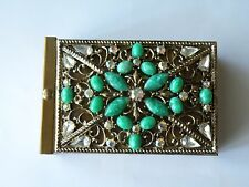 Vintage Cigarette Case, Holders Faux Jade, clear, ab rhinestones