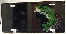 Large Mouth Bass on black  manufactured airbrushed license plate - CLOSEOUT