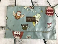 Punky Blue Coated Canvas Diaper Clutch Purse Bag Owl Bird Pattern Blue 8x11.5""