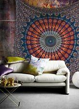 Pfau Grün Mandala Indisch Überwurf Tagesdecke Wandbehang Deko Tuch 210X230cm