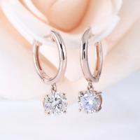 4Ct Round Cut VVS1/D Diamond Unique Drop & Dangle Earrings 14K Rose Gold Finish