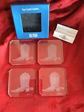 ~ NEW ~ OLEG CASSINI Four (4) Crystal Signed COASTERS With Etched Cowboy Boots