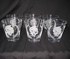 Vintage Roman Laurel Wreath Warrior Etched Rock Low Ball Glasses Italy Set of 6