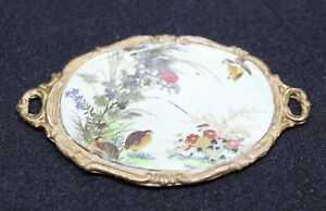 Vintage Dollhouse Miniature Metal Tray with Birds & Flowers