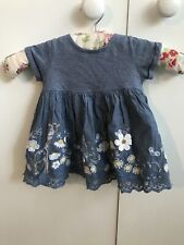 Next Embroidered Tshirt Dress.stripes,giraffe,flowers,butterfly.button Back3-6m