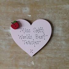 Personalised Worlds Best Teacher Fridge Heart Magnet End of Term Thank you Gift