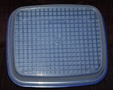 "Tupperware Snack Bar Cookie Salad Vegetable Storage Container Blue/Sheer  11x13"""
