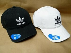 NEW adidas Originals Relaxed Strapback Baseball Cap Hat Trefoil Logo White,Black