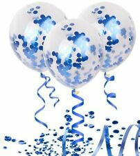 Confetti clear balloon Royal blue foil metallic