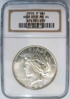 1926 S Silver Peace Dollar NGC MS 64 US Redfield Hoard Collection Pedigree Coin