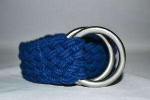 Rare Unworn Vtg Ralph Lauren Braided Blue Waxed Cotton Rope Silver O-Ring Belt