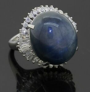 Heavy Platinum 37.80CT VS1/F diamond & NO HEAT Star sapphire ring size 6.25